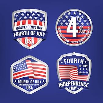 Gedetailleerde 4 juli - badge-collectie voor de onafhankelijkheidsdag
