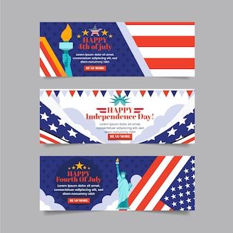 Gedetailleerde 4 juli - geplaatste banners van de onafhankelijkheidsdag