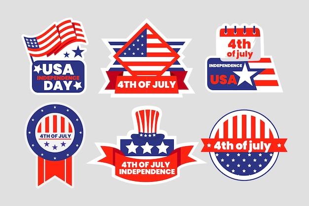 Gedetailleerde 4 juli - labelcollectie voor de onafhankelijkheidsdag
