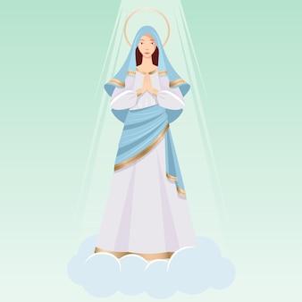Gedetailleerde aanname van maria-illustratie