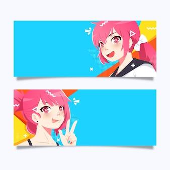 Gedetailleerde anime banners sjabloon