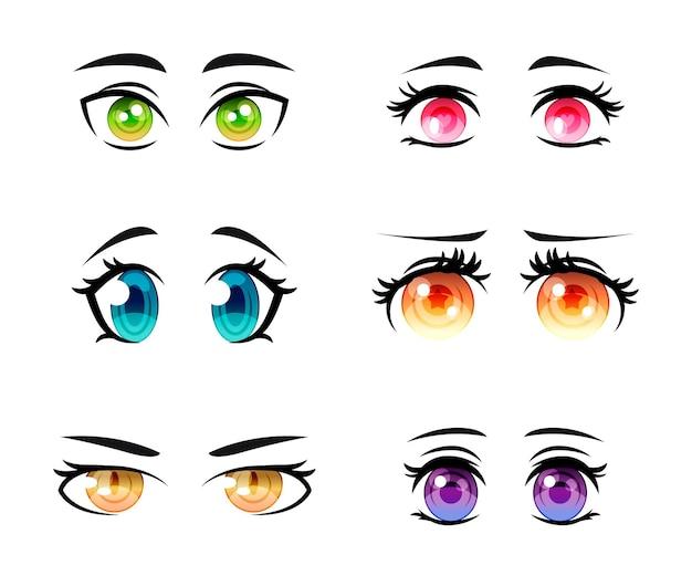 Gedetailleerde anime-oogcollectie