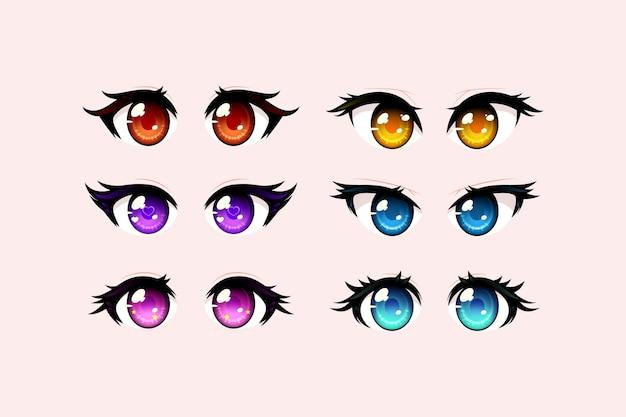 Gedetailleerde anime-oogcollectie Premium Vector