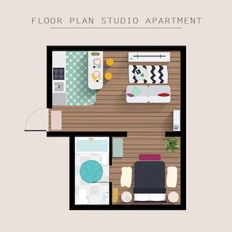 Gedetailleerde appartement meubilair bovenaanzicht. appartement met één slaapkamer.