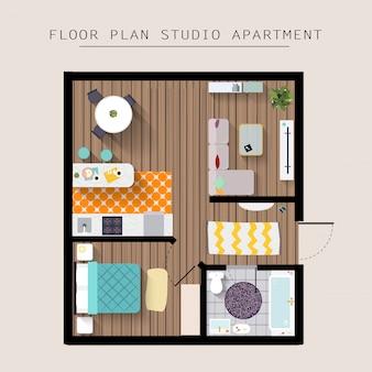 Gedetailleerde appartement meubilair bovenaanzicht. studio appartement met 1 slaapkamer. vlakke stijl illustratie.
