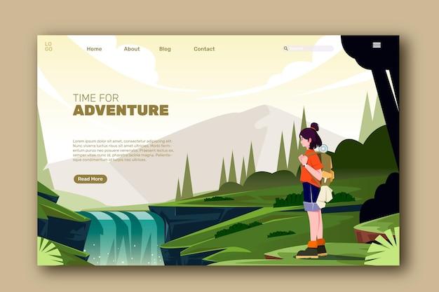 Gedetailleerde avontuurlijke bestemmingspagina