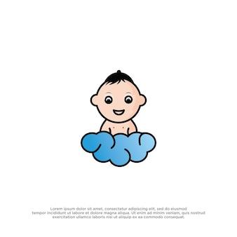 Gedetailleerde baby vector logo sjabloon