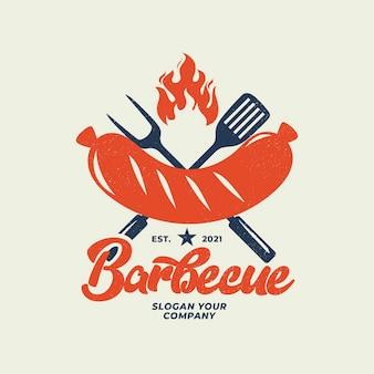 Gedetailleerde barbecue logo sjabloon