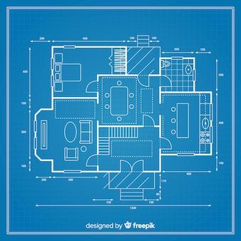 Gedetailleerde blauwdruk van een project voor een huis