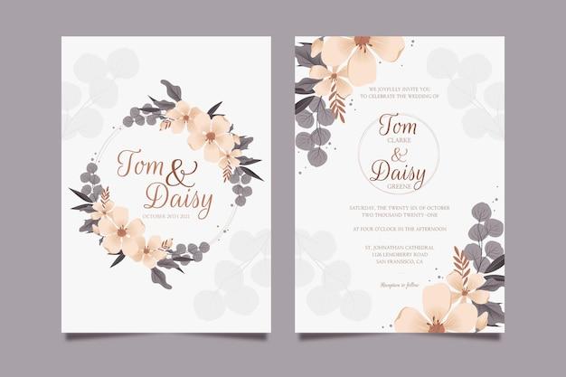 Gedetailleerde bloemen bruiloft uitnodiging sjabloon