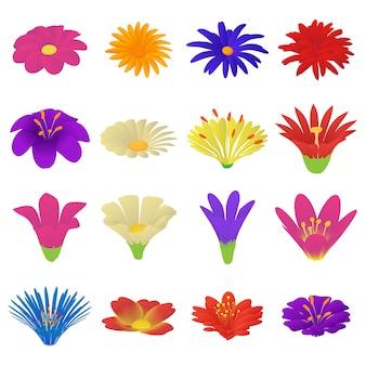 Gedetailleerde bloemen pictogrammen instellen. beeldverhaalillustratie van 16 gedetailleerde bloemen vectorpictogrammen voor web