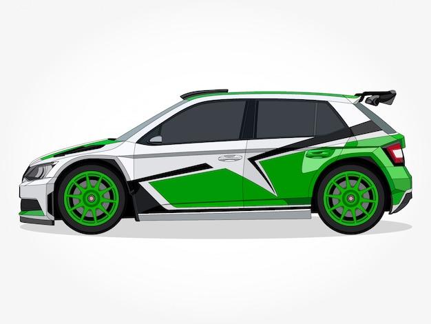 Gedetailleerde body en velgen van een platte gekleurde auto cartoon afbeelding met zwarte lijn en schaduweffect