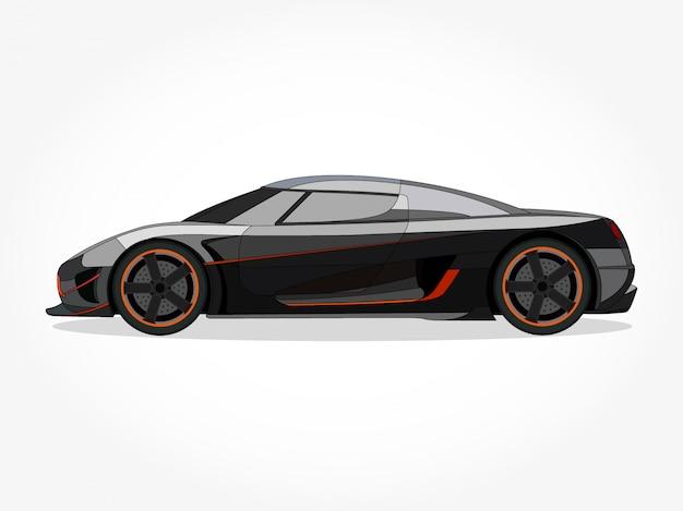 Gedetailleerde body en velgen van een platte gekleurde auto cartoon vector illustratie met zwarte lijn en schaduweffect