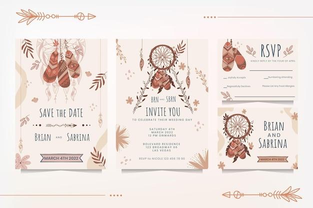 Gedetailleerde boho bruiloft briefpapier