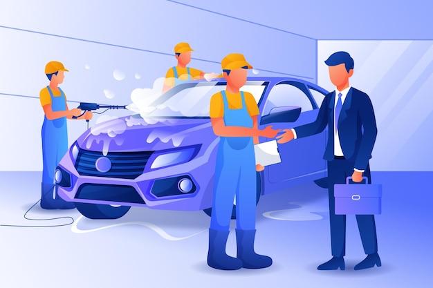 Gedetailleerde car wash service concept illustratie
