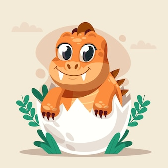 Gedetailleerde cartoon baby-dinosaurus