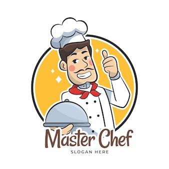 Gedetailleerde chef-kok logo sjabloon