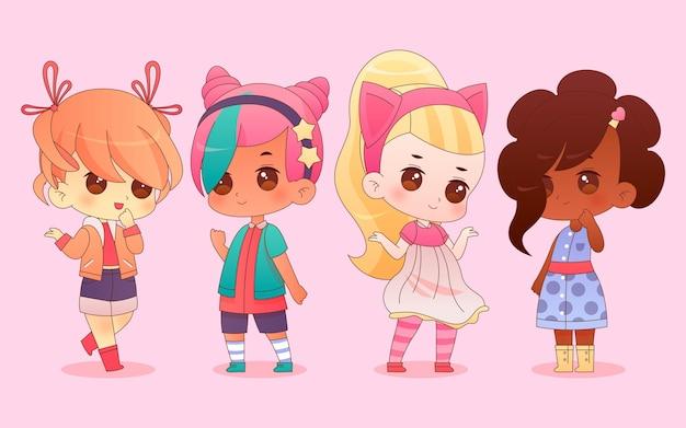 Gedetailleerde chibi anime-personages Premium Vector