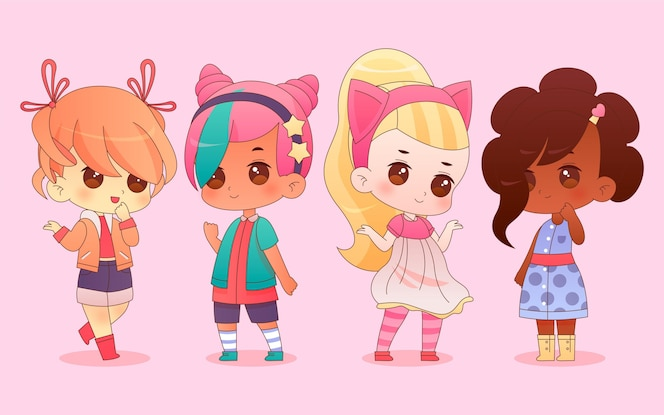 Gedetailleerde chibi anime-personages