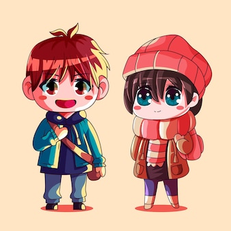 Gedetailleerde chibi-anime-personages