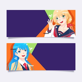 Gedetailleerde collectie anime-banners