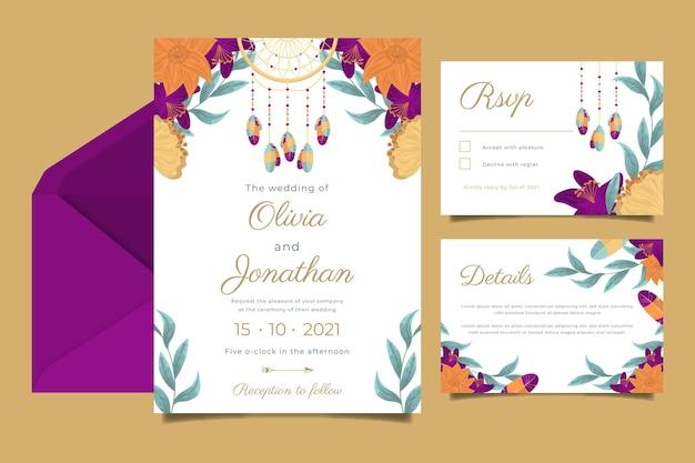 Gedetailleerde collectie boho-huwelijksbriefpapier