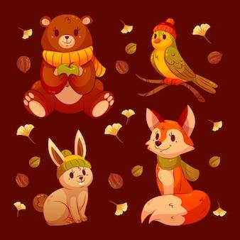 Gedetailleerde collectie herfstdieren