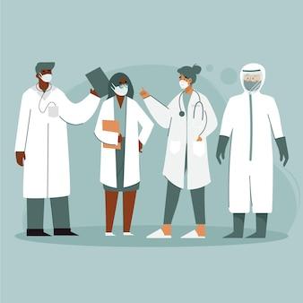 Gedetailleerde collectie illustratie van artsen en verpleegsters