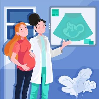Gedetailleerde dia internacional de la obstetricia y la embarazada illustratie