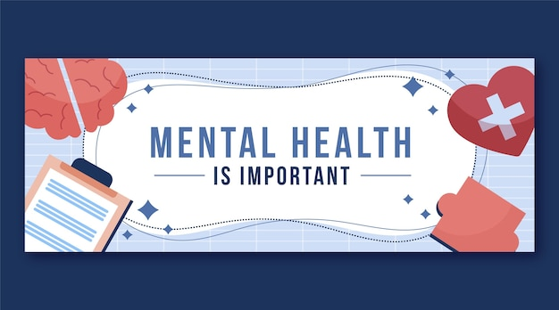 Gedetailleerde facebook-omslag over geestelijke gezondheid