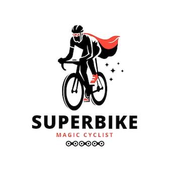 Gedetailleerde fiets logo sjabloon wielrenner