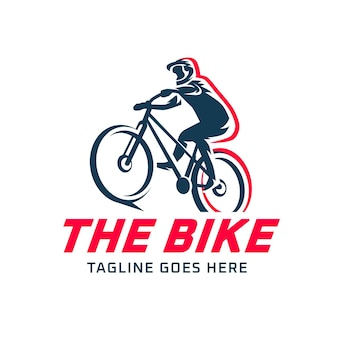 Gedetailleerde fietser fiets logo sjabloon