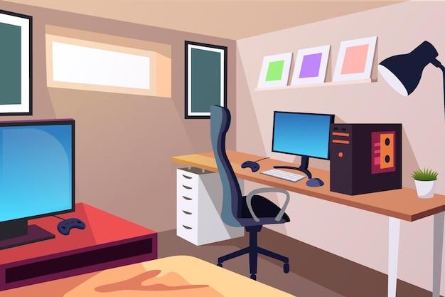 Gedetailleerde gamer kamer illustratie