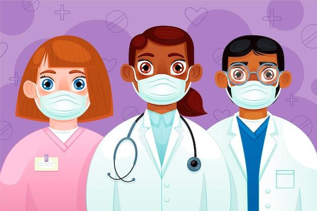 Gedetailleerde geïllustreerde artsen en verpleegsters