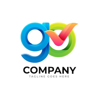 Gedetailleerde go-logo sjabloon
