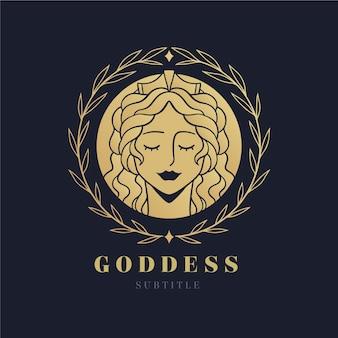 Gedetailleerde godin logo sjabloon