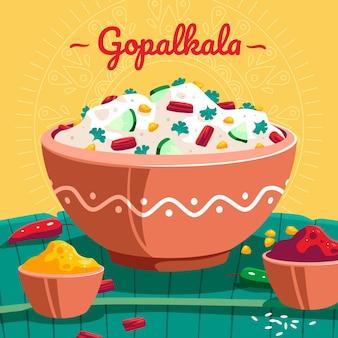 Gedetailleerde gopalkala-illustratie