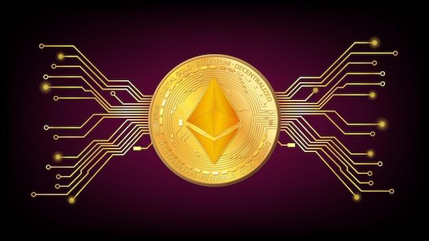 Gedetailleerde gouden munt ethereum eth token met pcb-tracks op donkerrode achtergrond. digitaal goud in technostijl voor website of banner. vector illustratie.