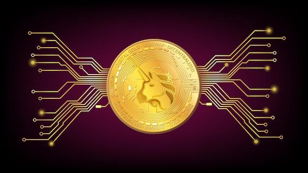Gedetailleerde gouden munt uniswap uni token van defi sector met pcb tracks op donkerrode achtergrond. digitaal goud in technostijl voor website of banner. vector illustratie.