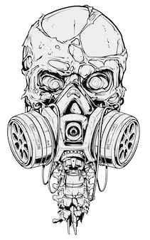 Gedetailleerde grafische menselijke schedel met gasmasker