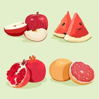Gedetailleerde heerlijke fruitcollectie