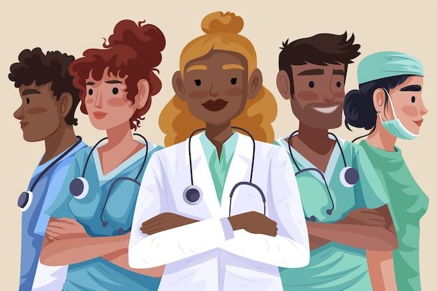 Gedetailleerde illustratie artsen en verpleegsters