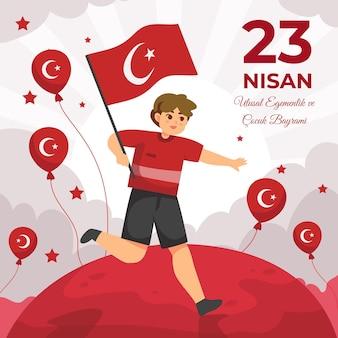 Gedetailleerde illustratie van 23 nisan