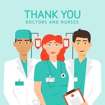 Gedetailleerde illustratie van artsen en verpleegsters
