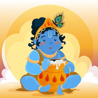 Gedetailleerde illustratie van baby krishna die boter eet