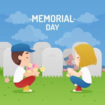Gedetailleerde illustratie van de herdenkingsdag van de vs.