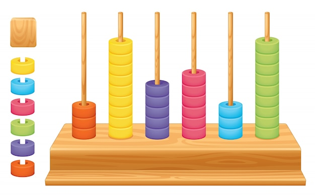Gedetailleerde illustratie van een wiskundige plaatswaarde abacus