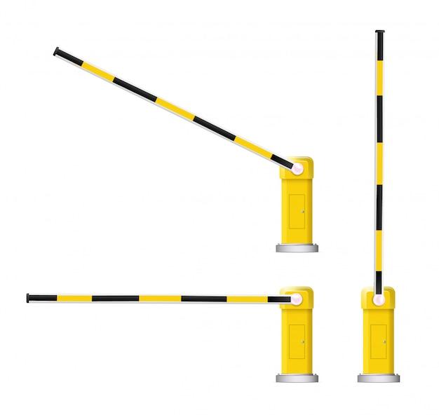 Gedetailleerde illustratie van een zwart en geel gestreepte autobarrière met stopbord.