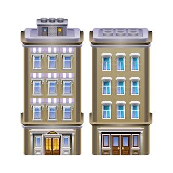 Gedetailleerde illustratie van gebouwen.