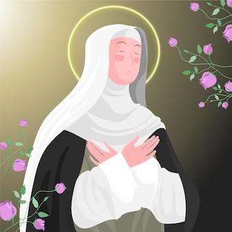 Gedetailleerde illustratie van santa rosa de lima